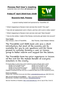 Pewsey Vale Rail User Group Agenda 6th April 2018